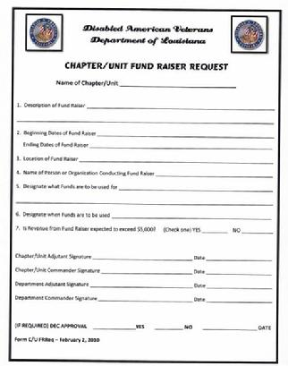 Fund Raiser Order Form | Disabled American Veterans Department Of Louisiana